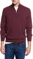 Brunello Cucinelli Cashmere Quarter-Zip Pullover Sweater, Burgundy