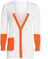 Joan Vass Petite Colorblock Cotton Cardigan