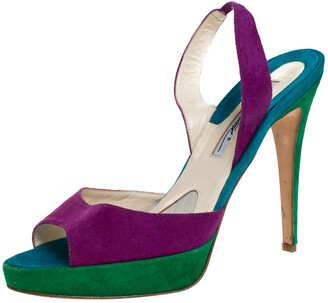 Brian Atwood Multicolor Suede Peep Toe Slingback Platform Sandals Size 39.5