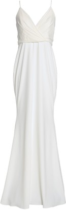 Badgley Mischka Wrap-effect Crepe Gown