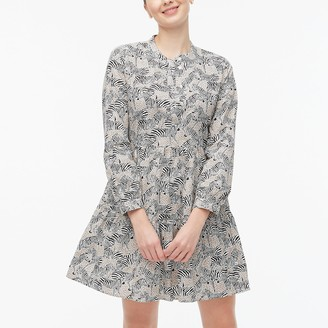 J.Crew Animal-print tiered dress in cotton poplin