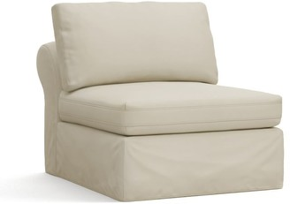 Pottery Barn PB Air Slipcovered Armless Chair - Brushed Canvas, Stone