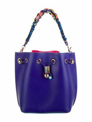 Sophia Webster Leather Drawstring Shoulder Bag Blue
