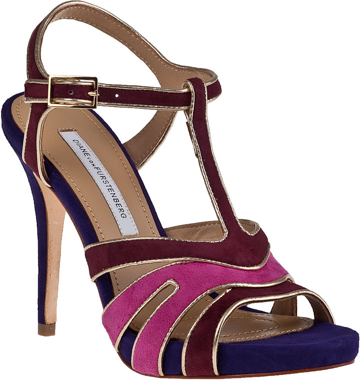 Diane von Furstenberg Julip Evening Sandal Dark Cherry Multi Suede