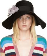 Gucci Black Felt Flower Hat