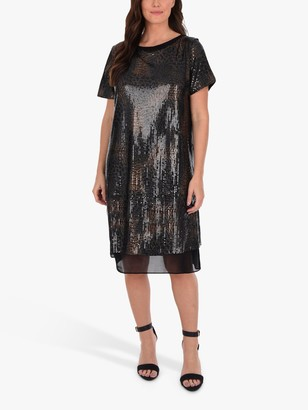 Live Unlimited Curve Sequin Overlay Dress, Black