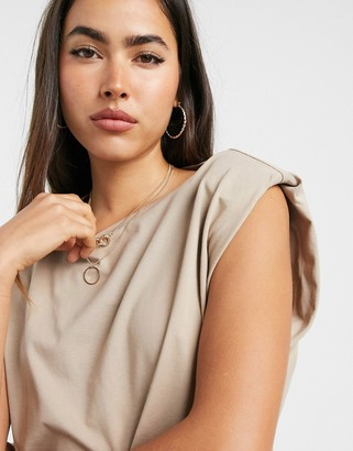 Vero Moda T-shirt with shoulder pads in camel