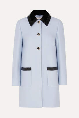 Miu Miu Sequin-embellished Velvet-trimmed Cady Coat - Blue
