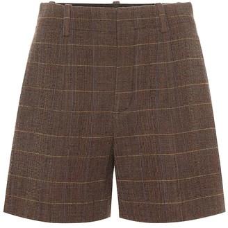 Chloé High-rise checked wool shorts