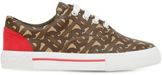 Burberry Printed Faux Leather Lace-Up Sneakers