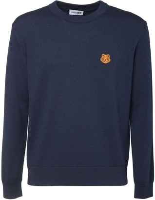 Kenzo Wool Crewneck Sweater W/ Tiger Patch