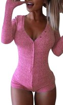 Cfanny Women's V-Neck Long Sleeves Botton Bodysuit Jumpers