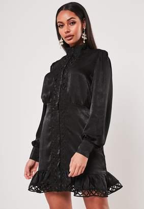 Missguided Black Satin Ladder Lace Insert Shirt Dress