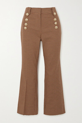 Derek Lam 10 Crosby Corinna Cropped Button-embellished Houndstooth Cotton-blend Flared Pants - Tan