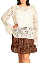 City Chic Plus Size Women's So Delicate Crochet Sweater