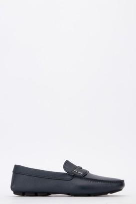 Prada Logo Square Toe Loafers