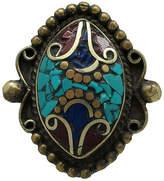 One Kings Lane Vintage Tibetan Inlaid Mosaic Stone Ring