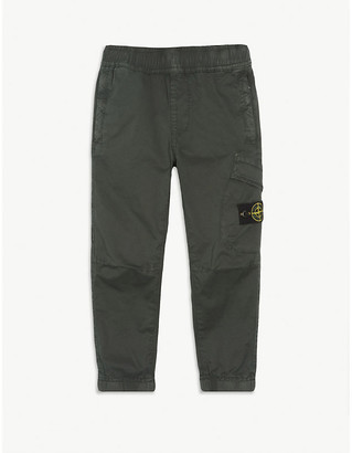 Stone Island Logo cotton-blend cargo trousers 4-14 years