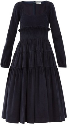 Molly Goddard Marley Tiered Cotton Blend Corduroy Dress - Womens - Navy