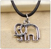 Nobrand No brand Fashion Tibetan Silver Pendant elephant Necklace Choker Charm Black Leather Cord Handmade Jewlery