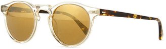 Oliver Peoples Gregory Peck Round Plastic Sunglasses, Clear/Tortoise
