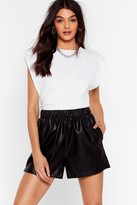 Womens Hey There Shorty High-Waisted Faux Leather Shorts - black - 6
