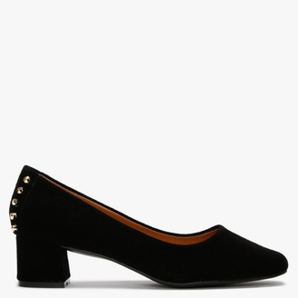 Df By Daniel Yenta Black Suede Studded Court Shoes
