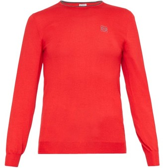 Loewe Anagram-embroidered Cashmere-blend Sweater - Red