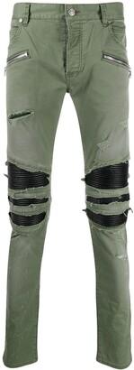 Balmain Distressed Slim-Fit Trousers