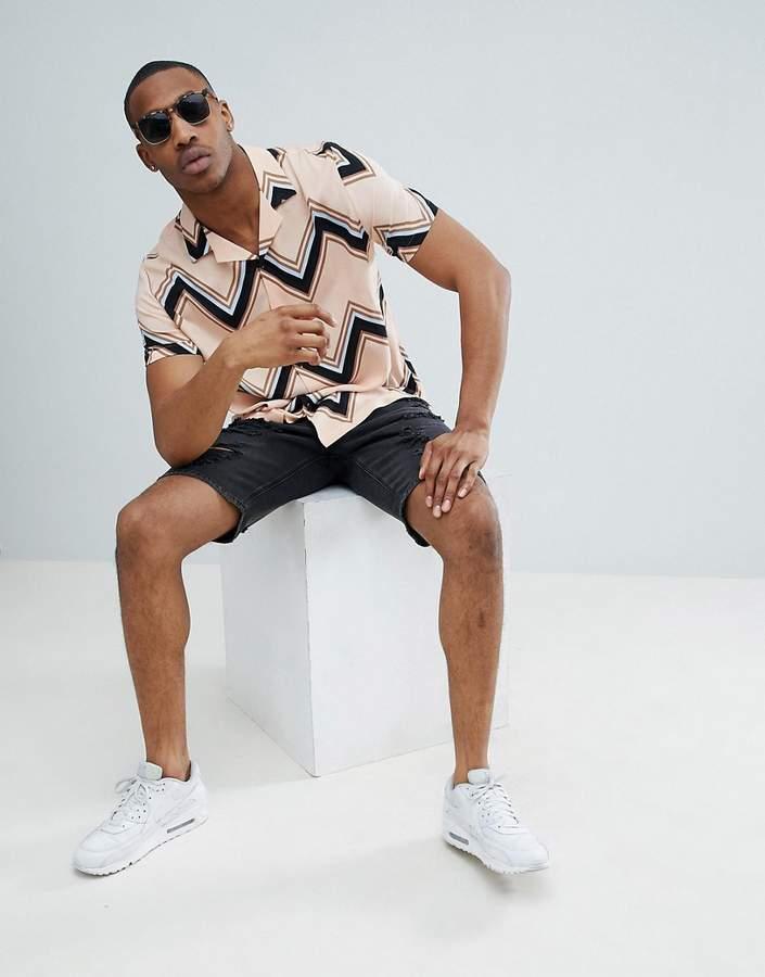 Asos Design DESIGN oversized chevron stripe shirt in pink