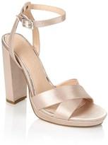 Office Satin Block Heel Sandals