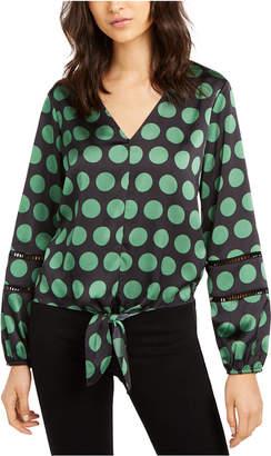INC International Concepts Inc Dot-Print Tie-Front Blouse