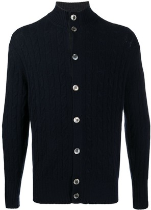N.Peal Cable Button Cashmere Cardigan