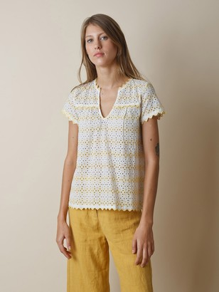 Printer And Tailor - Swiss Embroidery Short Sleeved Top - S