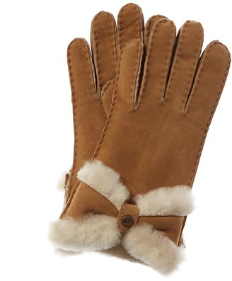 UGG Turned Bow Suede Gloves