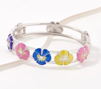 Diamonique Pansy Enamel Hinge Bangle Bracelet, Sterling Silver