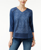 Style&Co. Style & Co Embroidered V-Neck Top, Only at Macy's
