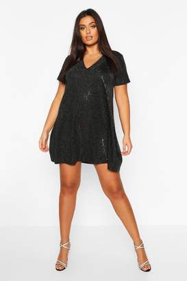 boohoo Plus Sequin Oversized T-Shirt Dress