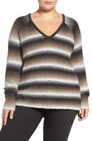 Tart Plus Size Women's 'Bary' Ombre Stripe V-Neck Sweater