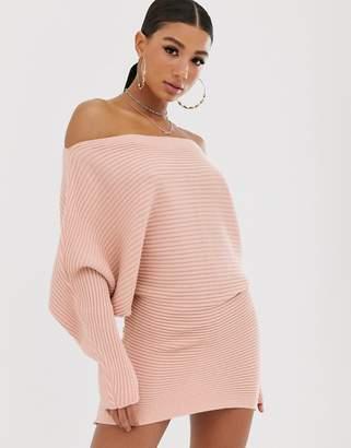 Asos Design DESIGN ripple off shoulder jumper dress-Pink