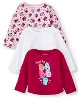 Garanimals Baby Girl Long Sleeve T-Shirts, 3-pack