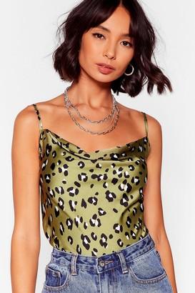 Nasty Gal Womens Fierce Looks Leopard Cowl Top - green - 12