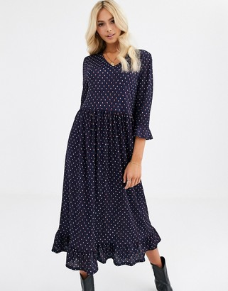 JDY geo print long midi dress with frill hem