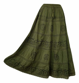 Doorwaytofashion Plus Size Cotton and Lace Lined Summer Skirt Embroidered UK One Size 16 18 20 22 24 (Burgundy)