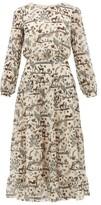 Saloni Isabel Jungle-print Silk Midi Dress - Womens - Cream Multi