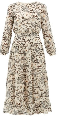 Saloni Isabel Jungle-print Silk Midi Dress - Cream Multi