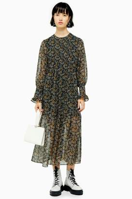 Topshop Womens Paisley Smock Midi Dress With Pintuck - Blue