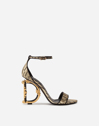 Dolce & Gabbana Jacquard Sandals With Baroque Heel