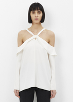 Proenza Schouler chalk long sleeve off shoulder knot top