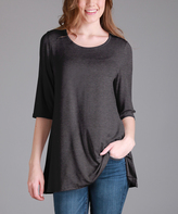 Lily Charcoal Gray Scoop Neck Tunic - Women & Plus